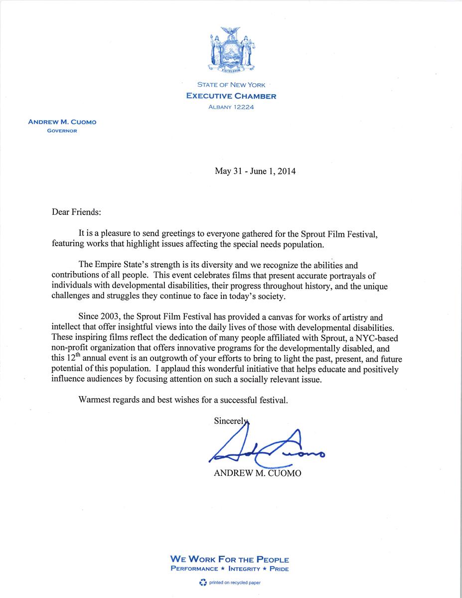 Andrew Cuomo Letter